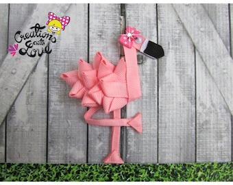 Flamingo Ribbon Sculpture Hair Clip. Flamingo Hair Clip.