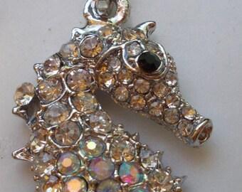 large silver sea horse purse charm key chain rhinestones ab coated