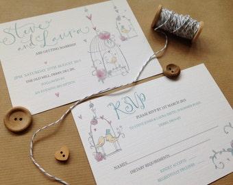 Wedding Invitation Sample - Love Birds, Bird Cage Calligraphy (Blue)