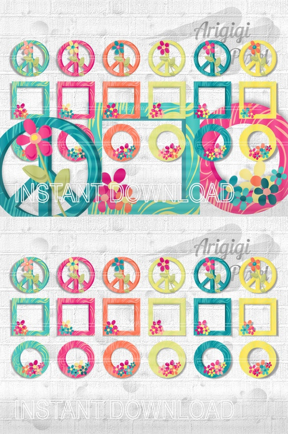 digital frame clip art flower power clipart wood textured frames summer colors PNG scrapbook download small commercial