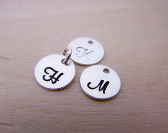 Initial Charm - Initial Disc - Letter Charm - Hand Stamped STERLING Silver Initial Charm - Alphabet Initial Disc - Initial Disc - UPPERCASE