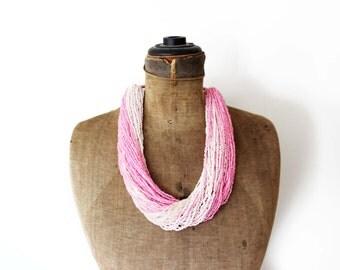Vintage Pink Bead Necklace, Pink Seed Bead Necklace, Pink Beaded Multi Strand Necklace, Long Pink Necklace