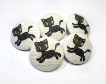 Fabric covered buttons Black Cats Kitten Handmade children, funny cat buttons, sewing buttons, sweater buttons, animal buttons