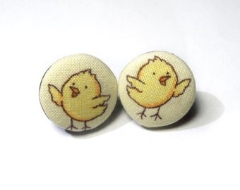 Yellow Stud Earrings, Fabric Covered Buttons Earrings, bronze tone earrings, fabric buttons jewelry, funny chicken girl earrings