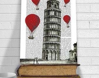 Leaning Tower of Pisa & Red Hot Air Balloons Print - Digital Print Illustration wall art wall decor wall hanging italian décor italy art