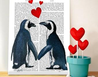 Penguins in love - Penguin art print penguin gift for valentine gift for lovers romantic gift for girlfriend Valentines gift for her wife