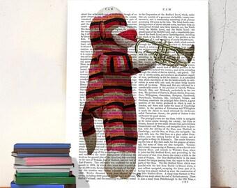 Sock Monkey & Trumpet - sock monkey image modern Nursery Art for Kids Room Décor musical gift for musician music room decor music art print