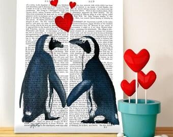 Penguins & Hearts: penguin print Penguin Decoration penguin nursery art penguin decor modern nursery Whimsical Animal art cute penguin art