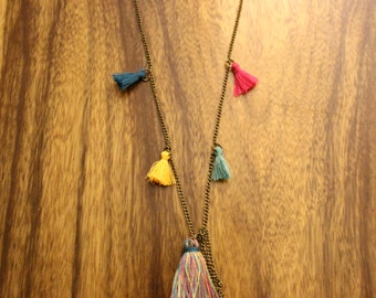 antique bronze chain necklace Boho Chic tassels, colorful necklace, long necklace handmade