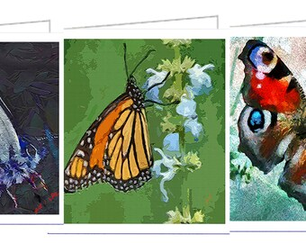 Ann Butterfly Collection- Set of 6 Blank Notecards (3 images)