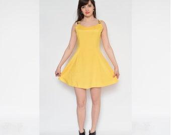 Vintage 90's Yello Mini Summer Dress