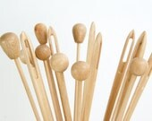 Giant wood needle + round pin + long round pin / Set of 3 giant wood needle and pins / sewing accessories