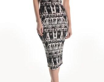 Strapless Midi Print Tube Dress, Summer Dress, Knee Length Dress, Sun Dress, Sexy Dress, Perfect Gift for Her