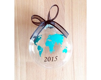 World Map Travel Custom Glass Christmas Ornament