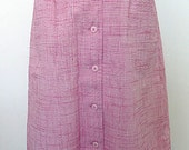 1950s Skirt / Pink Wool Blend/ 50s High Waisted Skirt / Side Pockets