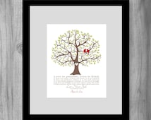 Wedding Gift Personalized Print Love is Patient 1 Corinthians 13 4-8 Love Birds Family Tree Gift Keepsake Art Print, Anniversary Gift custom