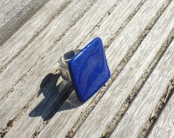 Square cobalt blue porcelain ceramic ring