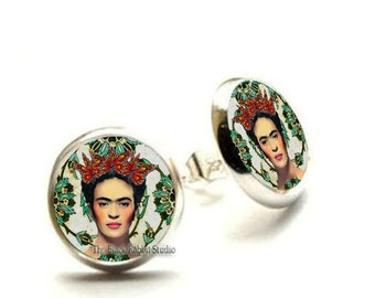 Frida Kahlo Earrings, Frida Kahlo Jewelry, Frida stud, Hypoallergenic Earrings for Sensitive Ears