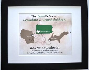 Gift For Grandma: Personalized From Grandchildren Maps Custom Grandmother Present Nana Birthday Gift Christmas Mothers Day Gifts Grandkids