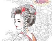 Digital Stamp - Miyabi Full Version - Authentic Japanese Maiko Geisha w/ Kimono Textile Background - Fantasy Line Art for Cards & Crafts