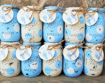 Shabby Chic Painted Mason Jars, Blue and White Polka Dot Mason/Ball Jars/Vases, Baby Boy Shower Centerpieces