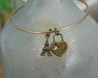 I Love Paris Bangle!  Eiffel Tower and heart love charm!