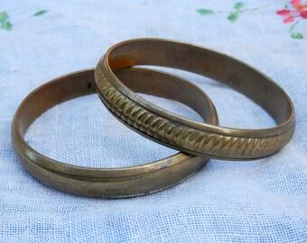 PAIR Vintage Brass Bangles