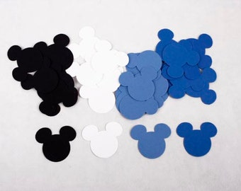 100 Mickey Mouse Birthday Confetti, Mickey First Birthday Boy, Blue Mickey Mouse Baby Shower Decorations, Party Supplies Mickey Mouse Ears
