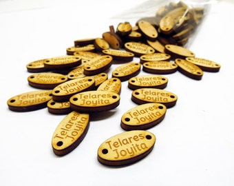 Custom Wooden Tag Button for clothes, knitting button. Oval Shape. Made to order