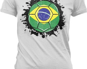 Brazil Soccer Ball Flag  Ladies T-shirt, Brazilian Flag Design, Canarinho, Brazil Pride, Junior and Women's Brazil Flag T-shirts GH_02069