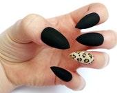 False nails - matte black, leopard print accent nail press on fake nails, hand painted stiletto nails