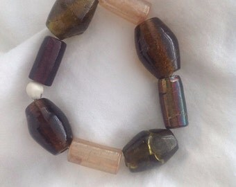 Stretch Bracelet, Violet Champagne Faceted Glass Beads Layer