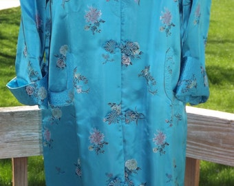 Vintage 1950-60's Dreamy Asian Silk Foral Long Peony Brand Jacket M/L