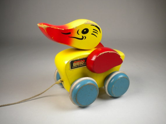 vintage wooden duck pull toy brio made in sweden shabby rustic. Black Bedroom Furniture Sets. Home Design Ideas