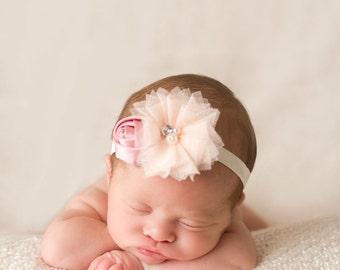 Peach Blush Headband, Blush Baby Headband, Pastel Headband, Baby Shower Gift, Newborn Photo Prop, Adult Headband, Pink Champagne Headband
