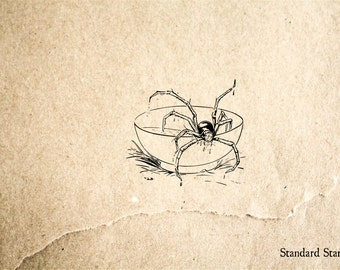 Spider in Soup Rubber Stamp - 2 x 2 inches
