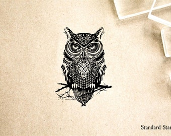 Fancy Owl Rubber Stamp - 2 x 2 inches
