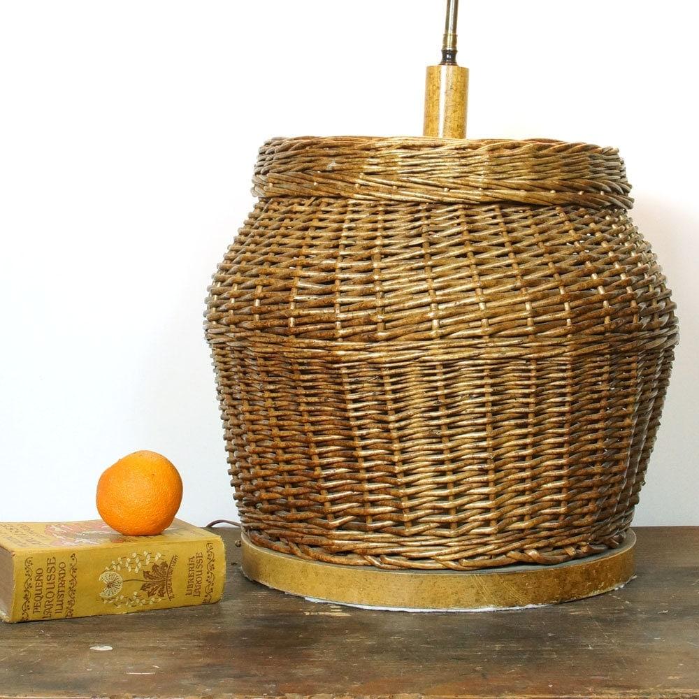 Woven Basket Lamp : Big mid century basket lamp huge vintage s woven