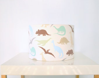 Boys dinosaur fabric table lamp shade - blue green brown dinosaur fabric - handmade - made to order