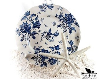 Blue Tudor Roses Dinner Plate, J & G Meakin Vintage Blue Transferware, Shabby Tableware, Downton Abbey Inspired Decor