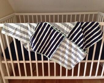 Modern Baby Quilt, Modern Quilt, Baby Quilt, Striped Baby Quilt