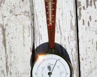 1956 Airguide Instruments Teak and Brass Barometer - Banjo Style - Art Deco Style Barometer Thermometer