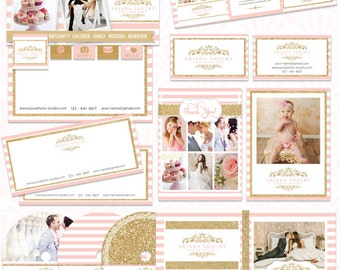 Pre-made Photography Marketing Set Templates - for Photographers  - editable layered PSD - instant download - Blush and Gold