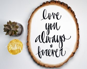 Love You Wood Slice Painting Wall Decor Wall Hanging Wall Art Wood Sign  Wedding Sign Gallery Part 60