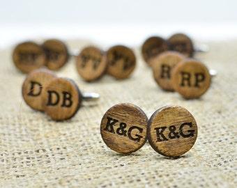 Personalized Wood Cufflinks - Monogrammed Custom Laser Engraved Wooden Cuff Links - Rustic Groomsmen Bridal Party Gift