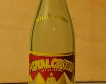 Vintage Royal Crown Cola Soda Bottle Green Copyright 1956 Shelby NC PRICE REDUCED