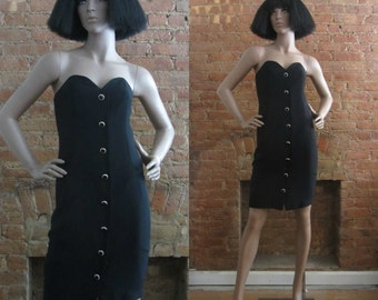 1980s A.J. Bari black cocktail dress | 80's party dress | Size S