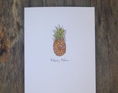Pineapple Happy Home Greeting Card Watercolor and Ink Pineapple Housewarming Blank Card