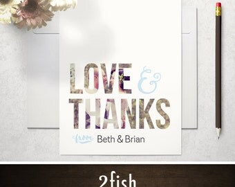 Photo Thank You Card / Photo Wedding Thank You Card - Printed or Printable, 4x5.5 or 5x7, Flat or Folded - Modern, Hand-written (Inlay)