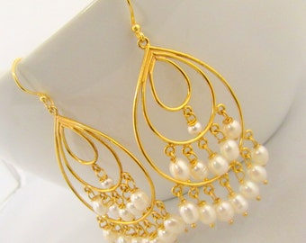 24K Gold Vermeil Over Sterling Silver, Fresh Water Pearls Chandelier Earring
